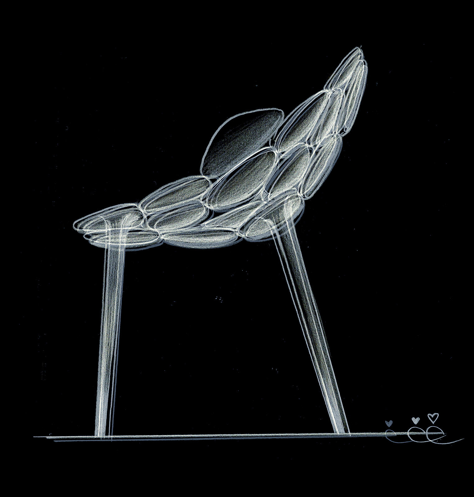Claud-io chair by eugeni Quitllet with Kartell  sketch 1